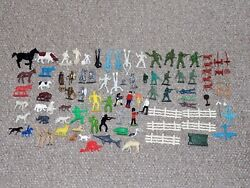 Vintage Marx And Other Plastic Farm Animals Military Cowboys And Other Figures