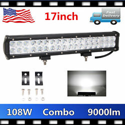 17inch 108w Led Offroad Work Light Bar Combo Driving Suv Fits Truck Lamp Bumper