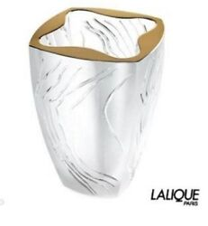 Lalique Crystal Vase 8 Yasna Gold 12 Lbs French Art Glass Mib 1278300