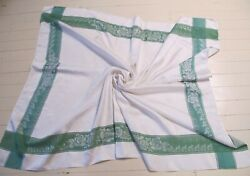 Tablecloth White Green Border Damask Large Rectangle Rayon 1960s Vintage Roses