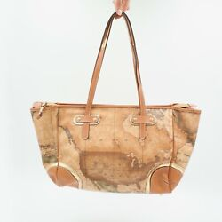 Alviero Martini Women's Large Hand Bag Geo Map Natural Gold Italy Ga79 Leather