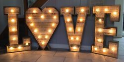 Large Light Up Letters For Sale Wood 4ft Love With Heart Cabochon Bulbs Wedding