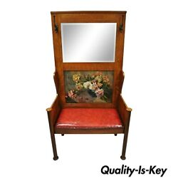 Antique Arts And Crafts Tiger Oak Mission Hall Coat Rack Tree Mirror Bench Seat