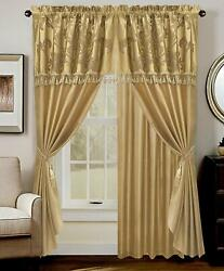 Luxurious Gold Jacquard Floral Windows Curtain Drape Privacy Traditional Bedroom