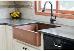 Farmhouse Sink Apron Hammered Solid Copper 32 In Handcrafted Single Bowl Kitchen