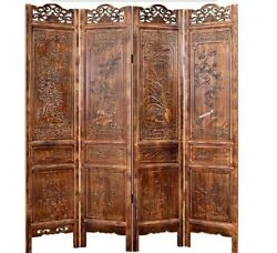 4 Panel Folding screen luxury hardwood hand-Carved Privacy Screen Room Divider屏风