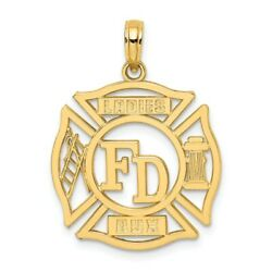 14k 14kt Yellow Gold Fd Ladies Aux In Shield Charm Pendant 20.8 Mm