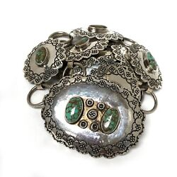 Navajo Obara Sterling Silver Turquoise Stamped Oval Concho Link Belt 38