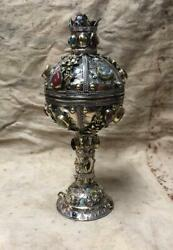Silver Gold Plt. And Agate Stones Rimon Pamagram Box Persian Mid 20th Century