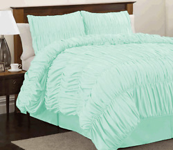 Gathered Ruffle Duvet Cover Set 800 Thread Count Egyptian Cotton All Sizes Color