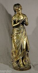Signed Lecorney Bronze Of Young Girl W/ Pigtails Holding A Flower Great Sculptur