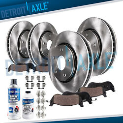Front And Rear Disc Brake Rotors + Brake Pads For 2014 2015 2016 2017 Nissan Rogue