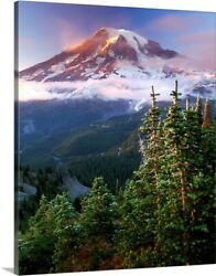 Clouds Hover Around Mt. Rainier At Canvas Wall Art Print, Mountain Home Decor