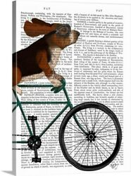 Basset Hound On Bicycle Canvas Wall Art Print, Bicycling Home Decor