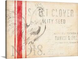 Feed Sack Canvas Wall Art Print Rooster Home Decor
