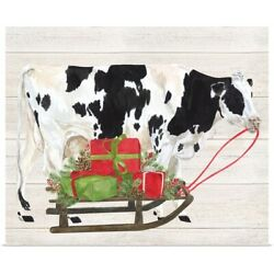 Christmas On The Farm I Cow With Sled Poster Art Print, Cow Home Decor