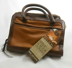 Nelson Deluxe Large Bible And Book Cover - Tan/brown Imitation Leather W/ Handles