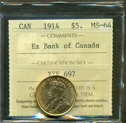 From The Hoard 1914 Canada Gold $5.00 Ex Bank Of Canada ICCS MS-64
