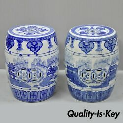 Pair Of Blue And White Porcelain Chinese Oriental Drum Garden Seat Pedestal