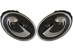 Pair Set 2 Front Bi-Xenon SAE Headlights Lamps Assies Hella For VW Beetle 12-13