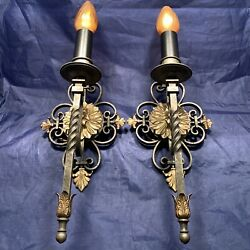 Quality Pewter Over Brass With Brass Accents Arts And Crafts Antique Sconces 89b