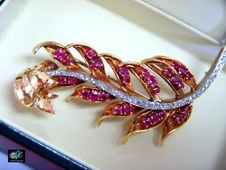 Vintage 18k White + Yellow Gold Diamond Ruby Branch Feather Pin Brooch Hand Made