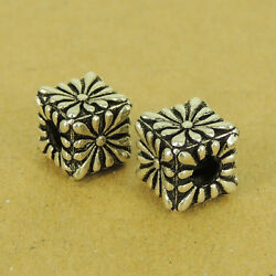 925 Sterling Silver Cube Bead Daisy Flower Vintage Diy Jewelry Making Parts 502