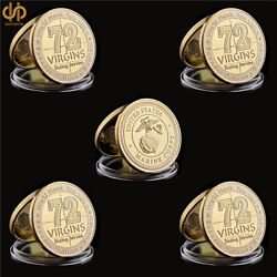 5pcs Usa Challenge Coin 72 Virgins Dating Service Usmc Army Marine Corps Gold Us