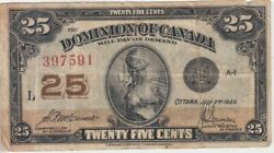 Canada Banknote P. 11b-7591 25 Cents 2.7.1910 Sig Mccavour-saunders See Scan