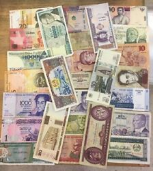 1 Pound Select Mix Of Circulated World Banknotes +/- 500 Notes 150+ Varieties
