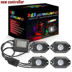 4-pods Rgb Cree Led Rock Lights Lamp Off-road Music Wireless Bluetooth Control