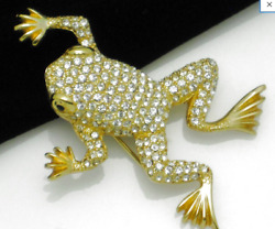 Vintage Christian Dior Costume Jewelry Frog Brooch - Just Gorgeous Perfect