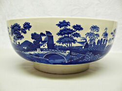Copeland Spode Blue And White Spode's Tower Footed Serving Bowl, Crazing