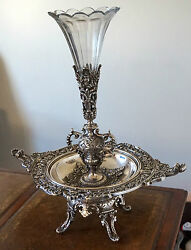 Antique Centre Piece And Vase In Silver Gilded Bronze Early 19th Century