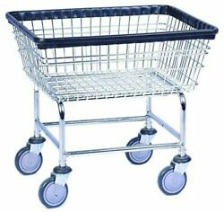 2 Large Commercial Wire Laundry Basket Carts With 1 Free Bottom Shelf New