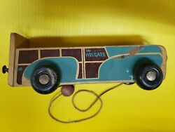 Vintage Wooden Car Pull Toy Part Of Holgate Toys Label Visible.fc41-t-ko76