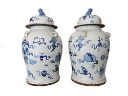Superb Large Chinoiserie Blue And White Ginger Jars - A Pair 23 H