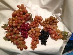 7 Bunches Of Vintage Wheatonware Plastic/rubber Grapes