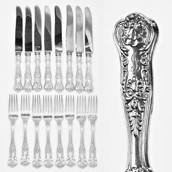 Set 16 Pc Dinner Knife And Fork By Birks Sterling Silver Queens Pattern