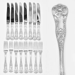 Set 16 Pc Dinner Knife And Fork By Birks Sterling Silver Queens No Monogram