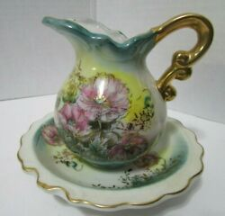 Lefton Floral Miniature China Pitcher And Water Basin/collectible 5522