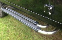 Land Rover Defender 90 Oem Black And Stainless Steel Running Boards Side Steps New