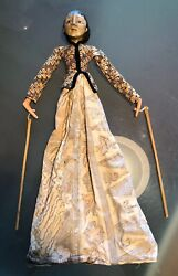Antique Indonesian Wayang Golek Hand Carved Princess Wood Bamboo Hand Puppet