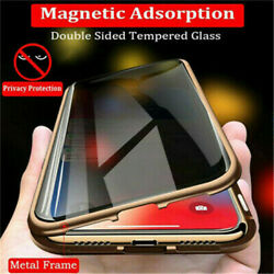 For iPhone XR XS 7 8 Plus 360° Double Tempered Glass Anti-Spy Privacy Case Cover