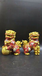 Collection Chinese copper gilt Cloisonne Hand-made Lion statue A pair