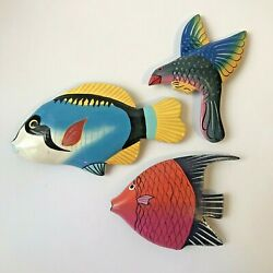 Lot Of 3 Handpainted Colorful Tropical And Flying Fish Wood Fridge Magnet Souvenir