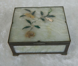 Chinese Antique Celadon Jade And Brass Trinket Jewelry Box Carved Applied Flowers