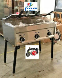 New 3 Burner Compartment Deep Fryer Model Fy21propane Use Stand Alone Outdoor