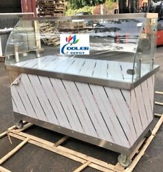 New 60 Concession Food Cart Vending Curved Glass Display Push Caster Wheels