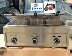 New 3 Burner Commercial Deep Fryer Model Fy5andnbsppropane Gas Use Counter Top Outdoor